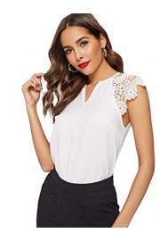 WDIRARA Women's V Neck Lace Short Sleeve Elegant Summer Top Blouse - My look - $5.99