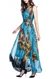 Wantdo Women's Peacock Beach Dress Maxi Dress Bohemian Plus Size - My look - $19.97