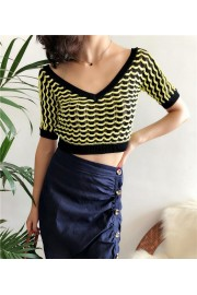 Wavy V-neck colorblock openwork sweater - Moj look - $27.99  ~ 24.04€