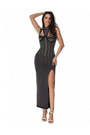 Whoinshop High Neck Sleeveless Maxi Beaded Side Slit Sexy Bodycon Dress - Myファッションスナップ - $65.00  ~ ¥7,316