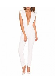 Whoinshop Women's Sexy Deep V Neck Jumpsuit Stretch Bodycon Party Romper Pants - My look - $48.00