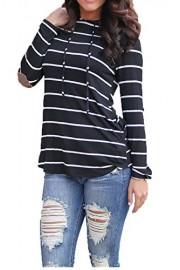 Women Hoodies Tops,Striped Printed Long Sleeve Pocket Drawstring Sweatshirt - Moj look - $14.99  ~ 95,23kn
