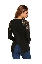 Women Lace Hollow Out Crew Neck Long Sleeve Top Blouse Shirts w/Slit - Moj look - $20.99  ~ 133,34kn