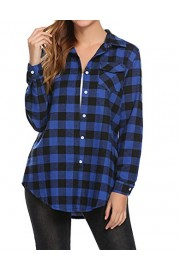 Women'S Long Sleeve Roll Up Sleeve Casual Plaid Button Down Flannel Shirts - My look - $18.99