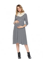 Women's 3/4 Sleeve Striped Print Side Pocket A-Line Comfy Ruffle Maternity Dress - Moj look - $4.99  ~ 31,70kn