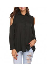 Womens Button Down Shirts Cold Shoulder Chiffon Blouses Collared Long Sleeve Top Blouse Shirts - My look - $10.99