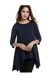 Womens Crewneck 3/4 Sleeve Irregular Hem Loose Casual Tunic T Shirt Tops - Il mio sguardo - $16.99  ~ 12.83€