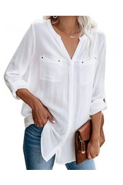Womens Flared Notch V Neck Shirts 3/4 Long Sleeve Casual Flowy Tunic Blouse Tops with Pockets - Il mio sguardo - $10.98  ~ 9.43€