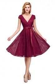 Women's Formal Cap Sleeve V-Neck Knee Length Evening Party Lace Dress - Mein aussehen - $28.99  ~ 24.90€