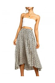 Womens High Waist Polka Dot Pleated Lightweight Midi Swing Skirts with Drawstring - Il mio sguardo - $12.99  ~ 11.16€