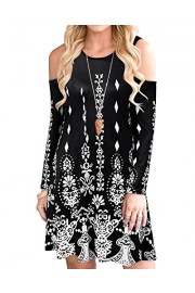 Women's Long Sleeve Cold Shoulder Casual Printed Tunic Top Loose Dress Pockets - My look - $79.99