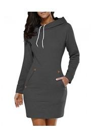 Women's Long Sleeve Cotton Slim Fit Midi Hoodie Dress Pocket S-5XL - My look - $55.98