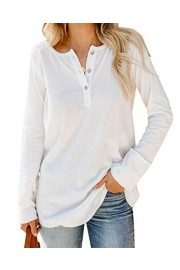Womens Long Sleeve Henley Shirt Button Up Soft Lightweight Loose Fit Plain Pullover Blouse Top - Il mio sguardo - $10.98  ~ 9.43€