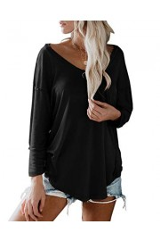 Womens Loose Drop Shoulder Tunic T-Shirts Sexy V Neck Long Sleeve Solid Casual Pullover Tops - Il mio sguardo - $12.99  ~ 11.16€