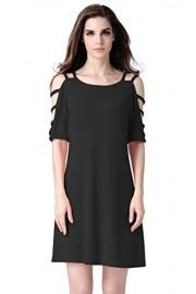 Women's Off Shoulder Short Sleeve Backless Casual T Shirt Dress - My look - $10.99