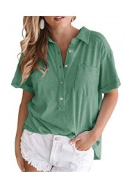 Womens Oversized Boyfriend Polo Shirts Novelty Baggy Distressed Vintage Short Sleeve Blouse Top - Il mio sguardo - $9.99  ~ 8.58€