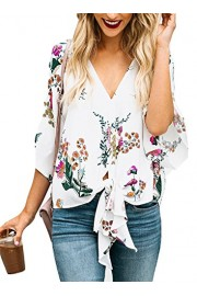 Women's PLUS SIZE Floral Print V Neck Tie Knot Front Tops 3/4 Bat Sleeve Casual Loose Blouse - Moj look - $19.99  ~ 126,99kn