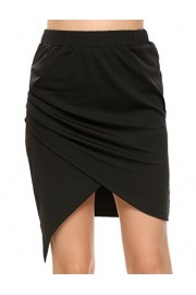 Women's Pencil Asymmetric Stretchy Short Bodycon Skirt, Black, XX-Large - Il mio sguardo - $15.99  ~ 13.73€