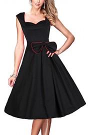 Women's Retro 1950s Sleeveless Cut Out V-Neck Rockabilly Vintage Swing Dress - Myファッションスナップ - $10.99  ~ ¥1,237