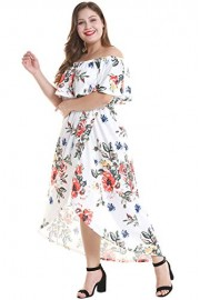 Women's Ruffle Plain Off Shoulder Floral Dresses Plus Size - Moj look - $26.99  ~ 23.18€