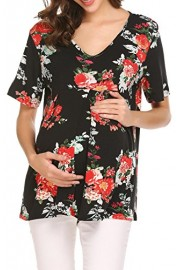 Women's Short Sleeve Floral Print Swing Tunic Maternity Tops - My look - $9.99