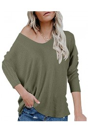 Womens V Neck Waffle Knit Tunic Tops Pullover Bat Wing Sleeve Casual Loose Fitting Plain Shirts - Il mio sguardo - $14.77  ~ 12.69€