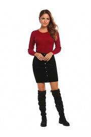 Women's Velvet High Waist Button Front Mini Pencil Skirt - Il mio sguardo - $24.98  ~ 21.45€