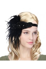 Women's Vintage 1920s Great Gatsby Flapper Headband Feather Wedding Party Headpiece - My look - $12.85