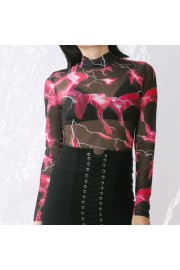 Women's sexy fashion printed mesh jumpsu - Mi look - $17.99  ~ 15.45€