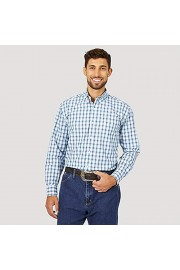 Wrangler George Strait Long Sleeve Two-Pocket Plaid Button Evergreen/White - My look - $52.00