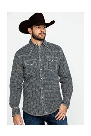 Wrangler Men's 20X Competition Navy Geo Print Long Sleeve - Mjc226m - My look - $57.94