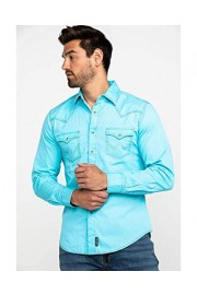 Wrangler Men's Retro Turquoise Solid Long Sleeve Western Shirt - Mvr476q - My look - $57.94