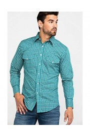 Wrangler Men's Wrinkle Resist Turquoise Plaid Long Sleeve Western Shirt - Mwr361m - My look - $40.94