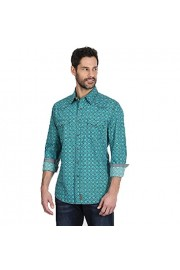 Wrangler Retro Men's Turquoise Long Sleeve Snap Shirt - My look - $49.00
