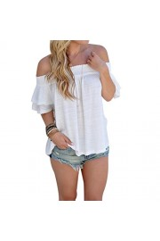 YANG-YI Clearance, Hot Summer Women Off Shoulder Blouse Short Sleeve Casual Shirt Solid Tops - My look - $5.65