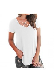 YANG-YI Summer T-Shirt, Clearance Hot 2018 Women Casual Short Sleeved Solid Criss Cross Front V-Neck T-Shirt Tops - My look - $6.55