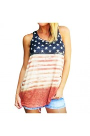 YANG-YI Women Fashion Print American Flag Sleeveless Crop Tops Vest T-Shirt - My look - $3.99