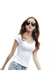 YANG-YI Women Fashion Slim Fit Cotton Short Sleeve Crew Neck Casual T-Shirt - My look - $1.89
