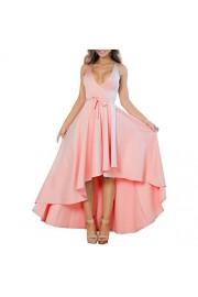 YS.DAMAI Women's Sexy V Neck Sleeveless High Low Hem Elegant Dress Cocktail Evening Party Dresses - My look - $30.99