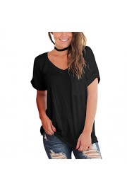 YS.DAMAI Women's Short Sleeve V Neck T Shirts Casual Loose Plain Summer Basic Tee Tops with Front Pocket - My look - $25.99