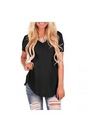 YS.DAMAI Women's Short Sleeve V Neck T Shirts Casual Plain Summer Tee Tops Blouse - My look - $25.99
