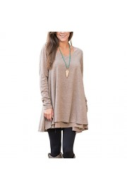 YUMDO Long Sleeve Layered Blouse Scoop Neck Tunic Top Loose - My look - $8.18