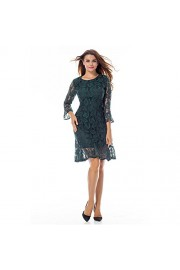YUMDO Vintage Floral Lace 3/4 Sleeve Dress Round Neck Cocktail Formal Bodycon for Women - My look - $11.99