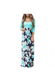 YUMDO Women's 3/4 Sleeve Floral Dress Casual Stretch Maxi Long Dresses - My look - $10.00