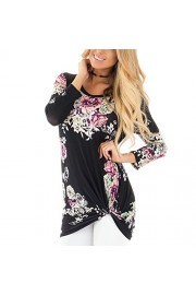 YUMDO Women's Floral Print 3/4 Sleeve Top Twisted Knit Front Blouse - My look - $5.00