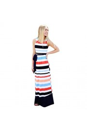 Yang-Yi Clearance, Fashion Summer Striped Tunic Sleeveless Casual Swing Long Maxi Dress With Belt - My look - $12.89