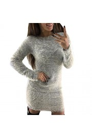 Yang-Yi Clearance, Hot Fashion Women Winter Long Sleeve Solid Sweater Fleece Warm Basic Short Mini Dress - My look - $6.65