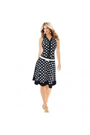 Yang-Yi Clearance, Women Fashion Polka Dot Sleeveless V-Neck Print Dress One-Piece Cotton Fibre Dresses - My look - $8.57