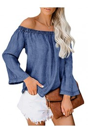 Youxiua Womens Sexy Off The Shoulder Tops Loose Flowy Long Bell Sleeve Chambray Casual T-Shirt Blouses - Il mio sguardo - $10.77  ~ 9.25€
