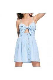 ZAFUL Women Boho Mini Dress Bowknot Cut Out Knotted Sleeveless Beach Dress - My look - $18.99